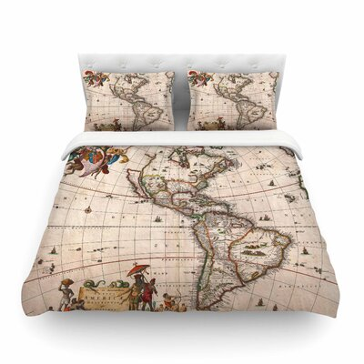 Vintage Map of the Americas by Bruce Stanfield Featherweight Duvet Cover Size: King
