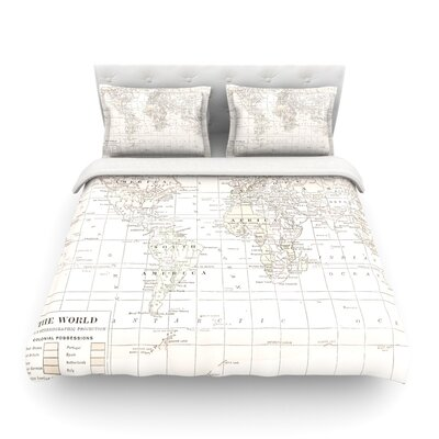 The Olde World by Catherine Holcombe Featherweight Duvet Cover Color: Cream/White, Size: Twin