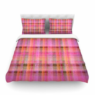 Watercolor Plaid by Carolyn Greifeld Featherweight Duvet Cover Color: Pink, Size: King