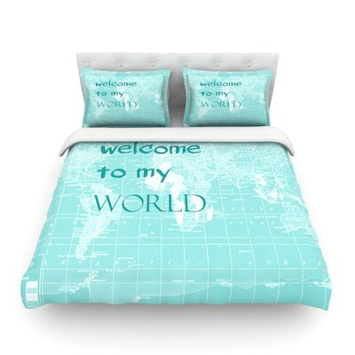 Welcome to my World Quote by Catherine Holcombe Featherweight Duvet Cover Color: Indigo, Size: King