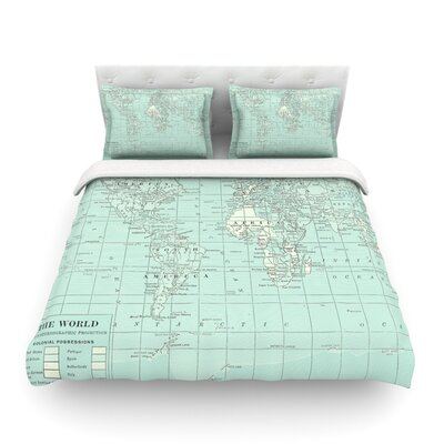 The Olde World by Catherine Holcombe Featherweight Duvet Cover Color: Blue/Teal, Size: Full/Queen