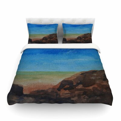 Beach Rocks Coastal by Cyndi Steen Featherweight Duvet Cover Size: Twin