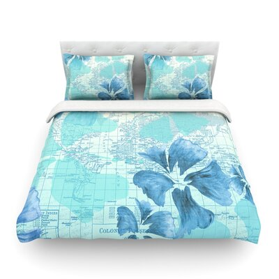 Flower Power Map by Catherine Holcombe Featherweight Duvet Cover Color: Blue, Size: Twin