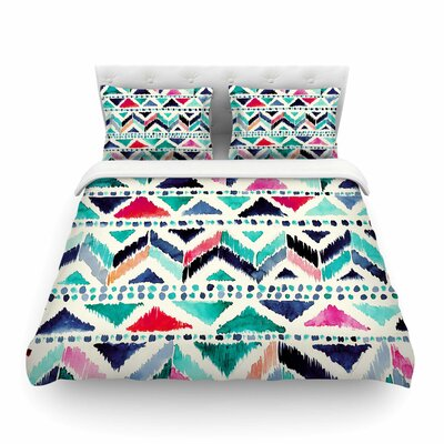 Celestial Tribal Stripe Chevron by Crystal Walen Featherweight Duvet Cover Size: Full/Queen