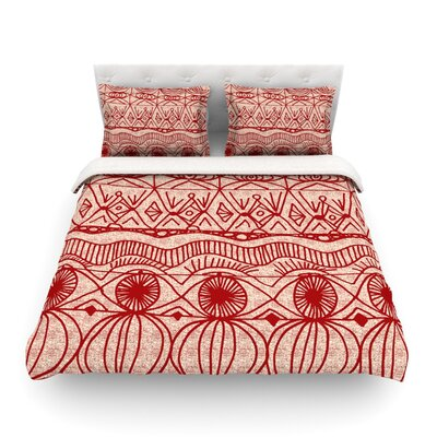 Featherweight Duvet Cover Size: King, Color: Cranberry and Cream