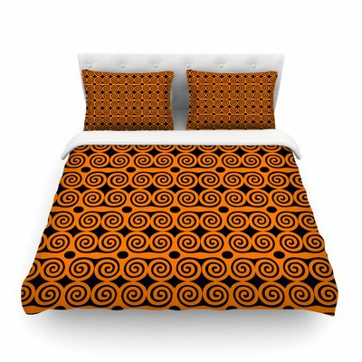 Locked Rams Horns -Contra Pattern by Dan Sekanwagi Featherweight Duvet Cover Size: Full/Queen