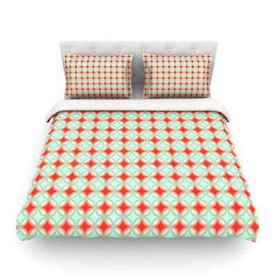 Retro Circles by Catherine McDonald Featherweight Duvet Cover Size: Twin