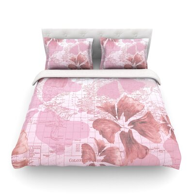 Flower Power Map by Catherine Holcombe Featherweight Duvet Cover Color: Pink, Size: Twin