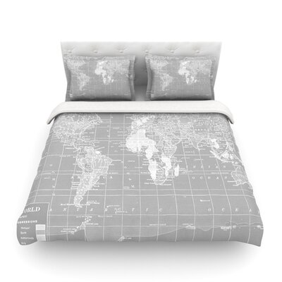 The Olde World by Catherine Holcombe Featherweight Duvet Cover Size: King, Color: Gray/White