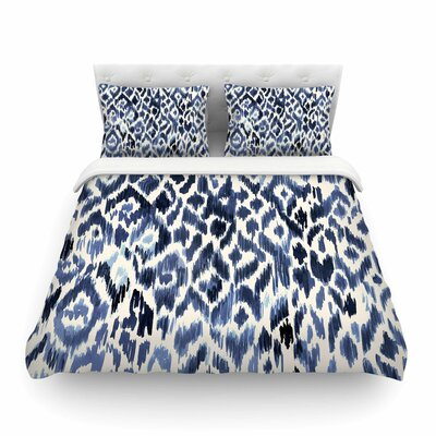 Leopard Tribal Indigo Watercolor by Crystal Walen Featherweight Duvet Cover Size: King