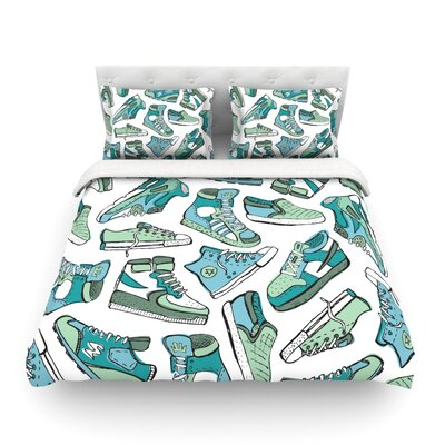 Sneaker Lover by Brienne Jepkema Featherweight Duvet Cover Size: Twin, Color: White/Blue