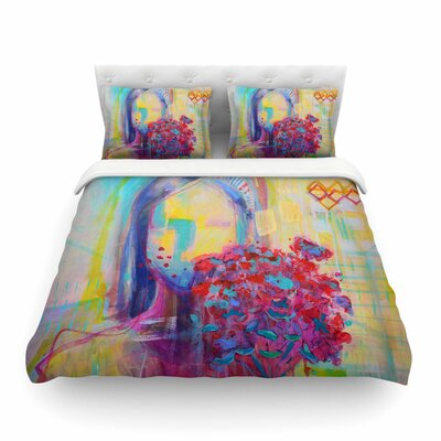 Girl with Plants Abstract Painting by Cecibd Featherweight Duvet Cover Size: Twin