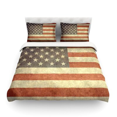 Flag of US Retro by Bruce Stanfield Featherweight Duvet Cover Size: Twin