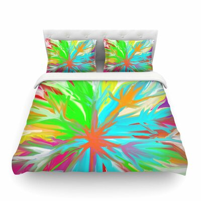 Tropical Paradise Rainbow Abstract by Dan Sekanwagi Featherweight Duvet Cover Size: King