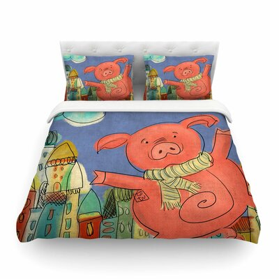 Happy Urban Pig by Carina Povarchik Featherweight Duvet Cover Size: King