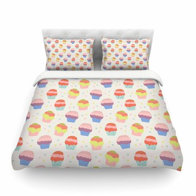 Cupcakes Yellow Food by Cristina Bianco Featherweight Duvet Cover Size: King