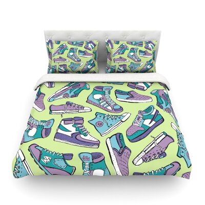 Sneaker Lover by Brienne Jepkema Featherweight Duvet Cover Color: Green/Purple, Size: Full/Queen