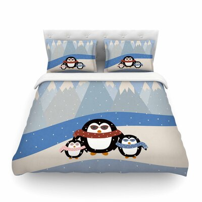 Cute Penguins Black Illustration by Cristina Bianco Featherweight Duvet Cover Size: Twin
