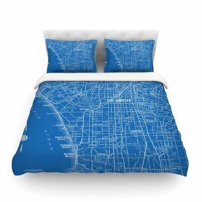 Los Angeles Streets Map by Catherine Holcombe Featherweight Duvet Cover Size: Twin