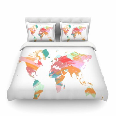 Wild World Travel Painting by Chelsea Victoria Featherweight Duvet Cover Size: Full/Queen