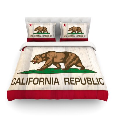 California Flag Wood Featherweight Duvet Cover Size: Full/Queen