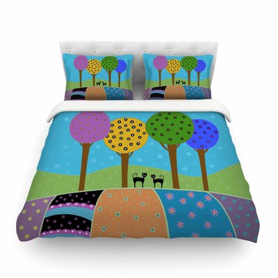 Cats and Colorful Landscape Illustration by Cristina BiancoFeatherweight Duvet Cover Size: King