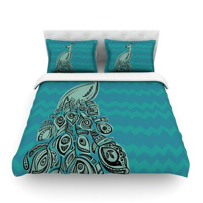 Peacock by Brienne Jepkema Featherweight Duvet Cover Color: Teal/Green, Size: Full/Queen