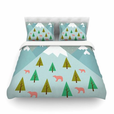 Bears Illustration Nature by Cristina Bianco Featherweight Duvet Cover Size: Full/Queen