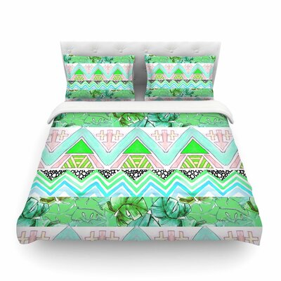 Tropicalstripes Green Floral by Danii Pollehn Featherweight Duvet Cover Size: King