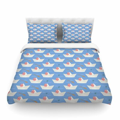 Paper Cat Pattern by Cristina Bianco Featherweight Duvet Cover Size: Twin