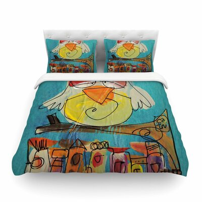 Urban Owl by Carina PovarchikFeatherweight Duvet Cover Size: King