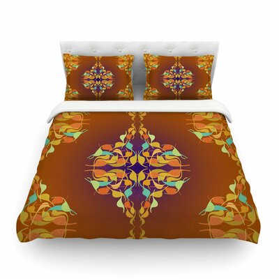 Feast Orange Abstract by Dan Sekanwagi Featherweight Duvet Cover Size: Full/Queen