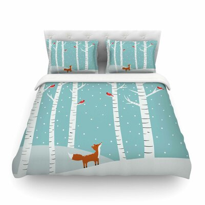 Fox Cardinals Winter Kids by Cristina Bianco Featherweight Duvet Cover Size: King