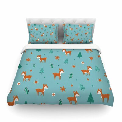 Cute Deer Pattern Kids by Cristina Bianco Featherweight Duvet Cover Size: Full/Queen