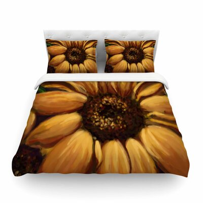 Sunflower Days Yellow Floral by Cyndi Steen Featherweight Duvet Cover Size: King