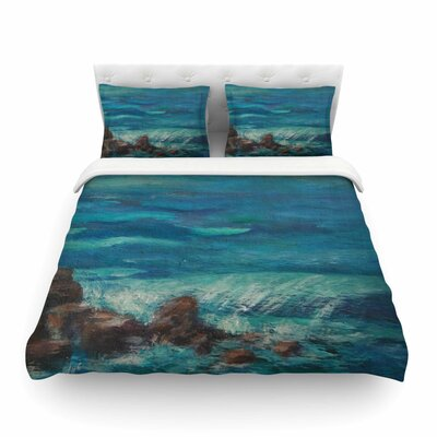 The Lighthouse Rocks Painting by Cyndi Steen Featherweight Duvet Cover Size: Twin