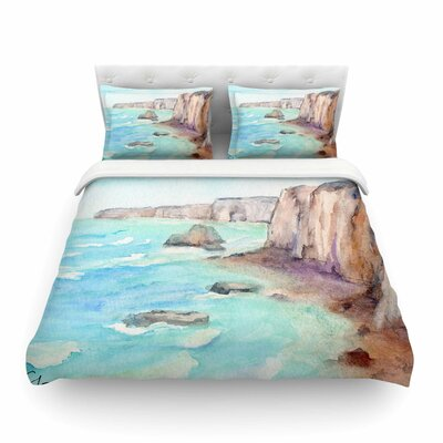 Cliffs at Normandie Travel by Cyndi Steen Featherweight Duvet Cover Size: King