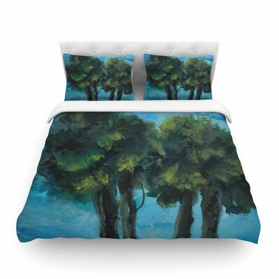 Twin Palms by Blue/Green Featherweight Duvet Cover Size: Twin