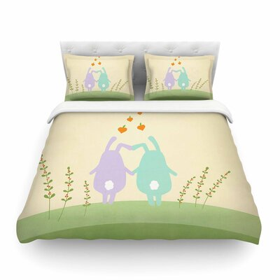 Cute Bunnies Animals by Cristina Bianco Featherweight Duvet Cover Size: Twin