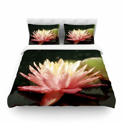 Painted Water Lily Pink Floral by Cyndi Steen Featherweight Duvet Cover Size: Full/Queen
