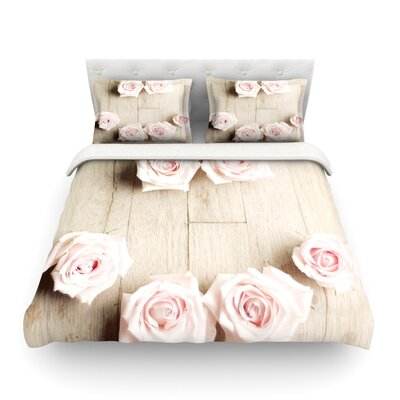 Smile Wood Roses by Cristina Mitchell Featherweight Duvet Cover Size: Twin