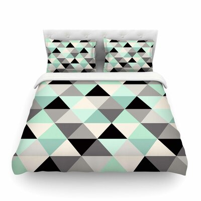 Triangle Geo Teal by Crystal Walen Featherweight Duvet Cover Size: Twin