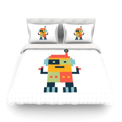 Happy Robot by Daisy Beatrice Featherweight Duvet Cover Size: King