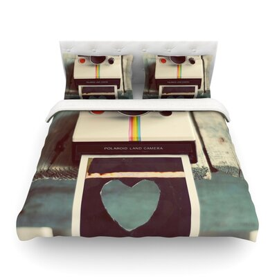 Polaroid Love Camera by Cristina Mitchell Featherweight Duvet Cover Size: Full/Queen