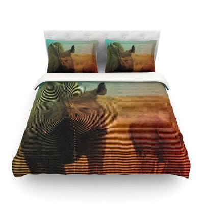 Abstract Rhino by Danny Ivan Featherweight Duvet Cover Size: Full/Queen