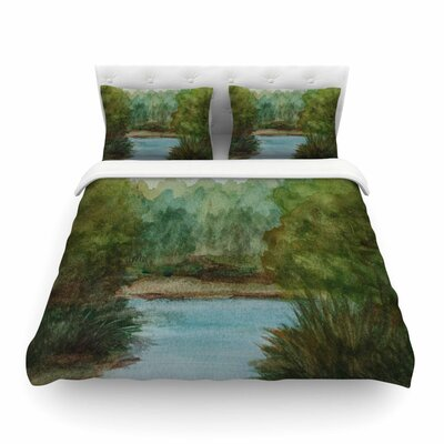 Lake Channel Watercolor by Cyndi Steen Featherweight Duvet Cover Size: King
