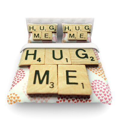 Hug Me Heart Text by Cristina Mitchell Featherweight Duvet Cover Size: Full/Queen