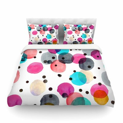 Festive Watercolor Dots by Crystal Walen Featherweight Duvet Cover Size: Twin