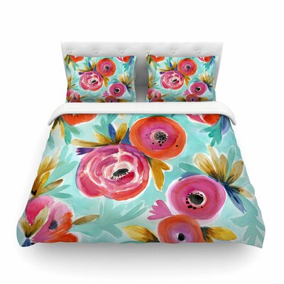 Celestial Rain Flower by Crystal Walen Featherweight Duvet Cover Size: Full/Queen
