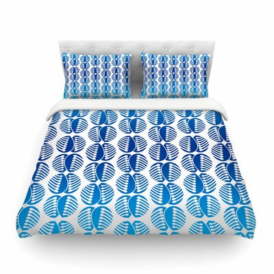 Poddy Combs in Blue Pattern by Dan Sekanwagi Featherweight Duvet Cover Size: Twin